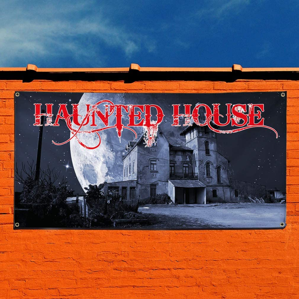 Vinyl Banner Sign Haunted House #1 Style B Business House Marketing Advertising Red 24inx60in 4 Grommets Set of 3 Multiple Sizes Available