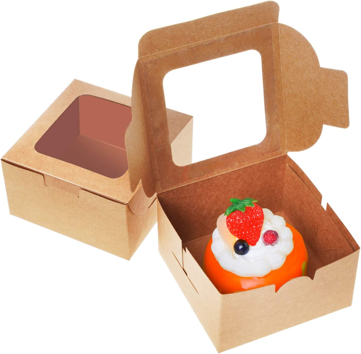 Kraft Paper Cake Boards Bakery Boxes with Auto-Popup Window, Gift Boxes 4 x 4 x 2.4 inches (Pack of 50) For Pies Cakes Cupcakes Pastries Desserts Shop
