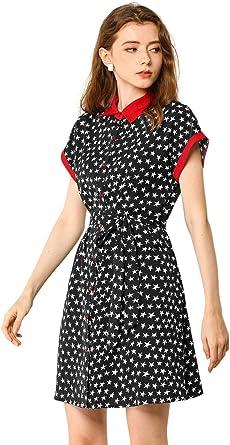 Allegra K Vestido De Camisa Estampado De Estrellas Manga Corta Cinturón Botón Arriba Vintage para Mujer: Amazon.es: Ropa y accesorios