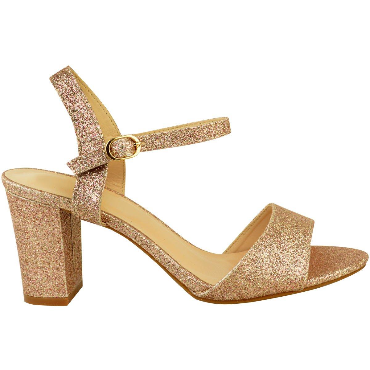 6ff343349 Fashion Thirsty heelberry Mujer Tacón Bajo Fiesta Boda Sandalias de Purpurina  Zapatos Boda Baile Graduación Talla  Amazon.es  Zapatos y complementos