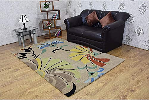 Rugsotic Carpets Hand Tufted Wool 10'x10' Square Area Rug Floral Camel K00219