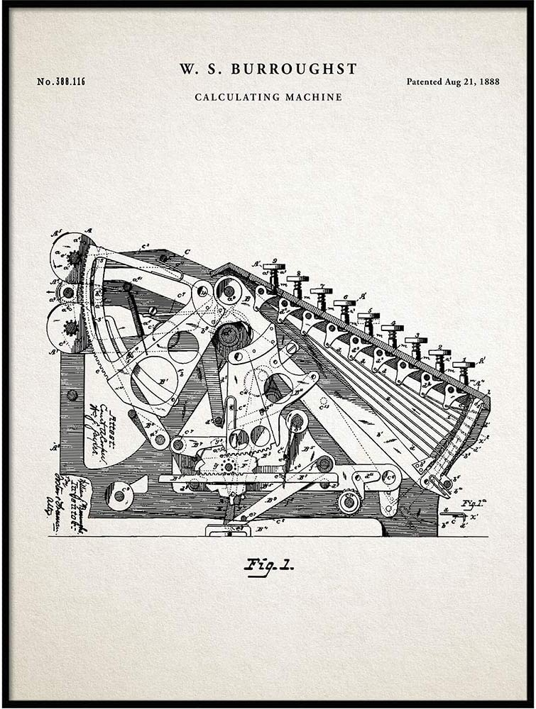 Vintage Calculator Patent, Decor, Accountant Office Decor, CPA Gift, Accountant Gift, Patent Print, Calculator Patent, Office Machine, QP573