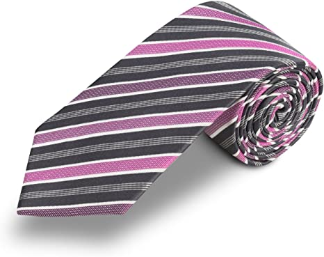 Corbata gris a rayas rosa, fabricada a mano, en seda. Pietro ...