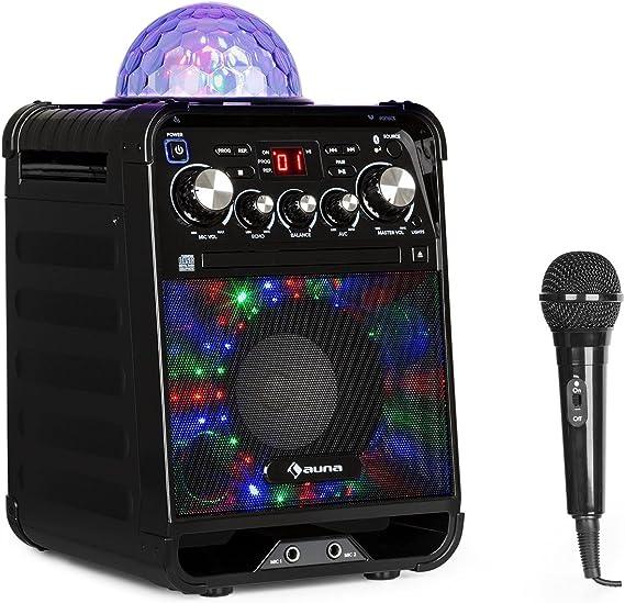 auna Rockstar - Karaoke, Equipo de Sonido pequeño, Equipo de Karaoke, Bola de Luces LED, AVC, Efecto Eco, Bluetooth, Peso Total: 3,1 Kg, CD, CD-R y CD-RW, Robusto, Negro: Amazon.es: Electrónica