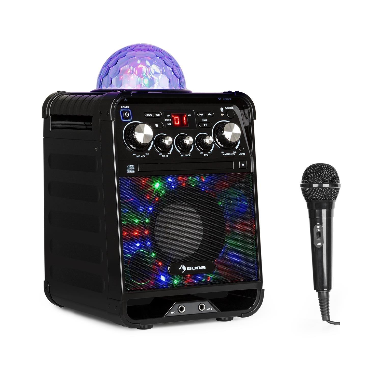 auna Rockstar • Karaoke • Equipo de Sonido pequeño • Equipo de Karaoke • Bola de Luces LED • AVC • Efecto Eco • Bluetooth • Peso Total: 3,1 Kg • CD, CD-R y CD-RW • Robusto • Negro