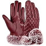 VBIGER スマホ 手袋 レディース レザー手袋 革 裏起毛 冬 保温 暖かい ファー付 アウトドア タッチパネル グローブ