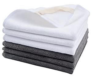 Sinland Microfiber Facial Cloths Fast Drying Washcloth 12inch x 12inch Grey 3pack + White 3pack