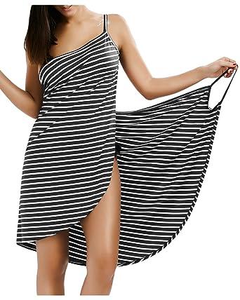 bbb3595efa50d ZAFUL Women s Striped Beach Coverup Dress Swimsuits Spaghetti Strap Sexy Backless  Bikini Wrap Dress(Gray