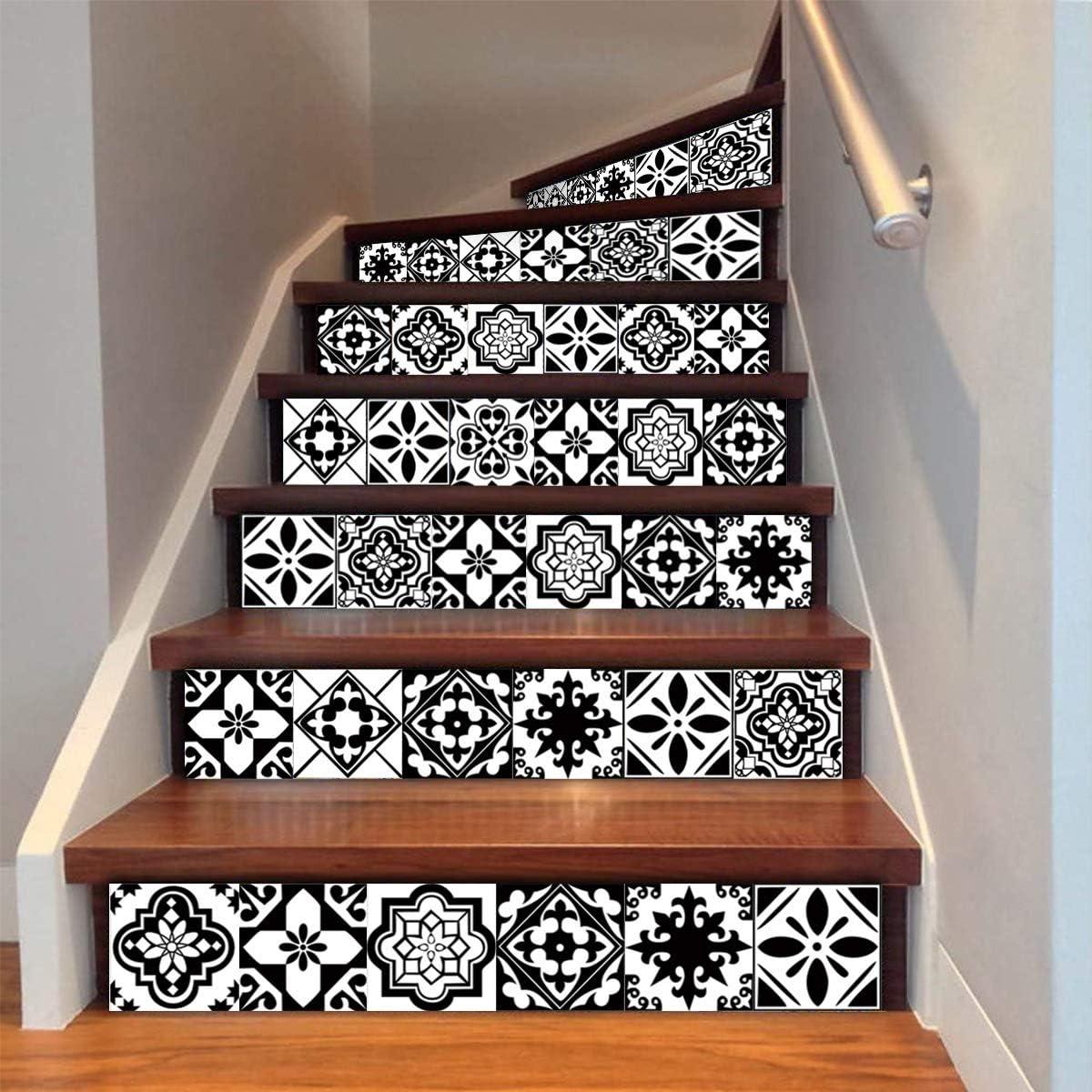 decalmile 10 Pi/èces Stickers Carrelage 15x15cm Classique Noir et Blanc Marocain Carrelage Adh/ésif Mural Cuisine Salle de Bain Carreaux de Ciment Mural D/écoration
