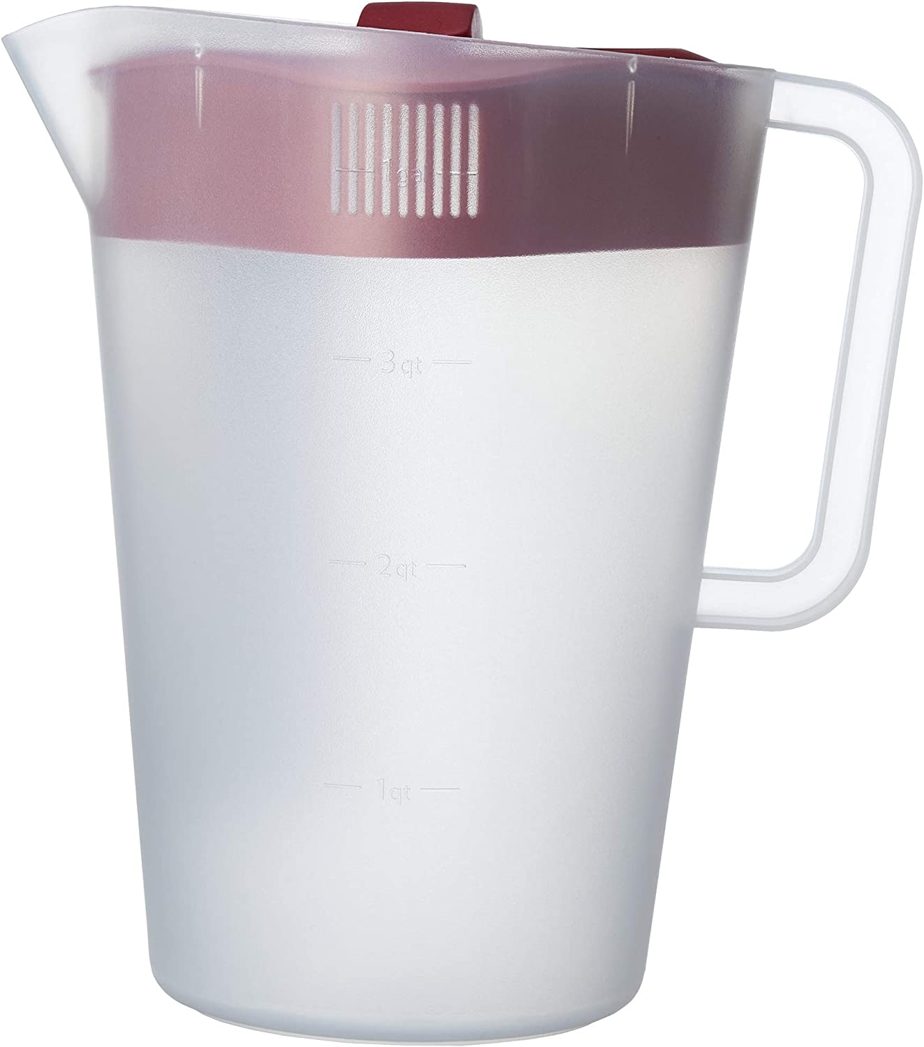 Good Cook 1 gallon plastic straining pitcher square lid with 3 strainers and close no spill, Dishwasher Safe, Clear and Red