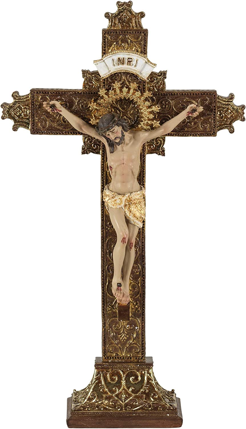 12 High Dicksons Resin Tabletop Cross with Brown Finish