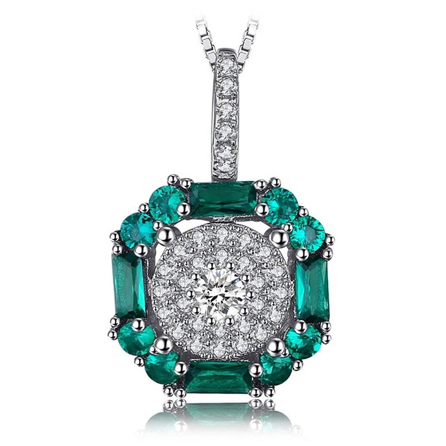 Pendants Necklaces by CS-DB 0.9ct Nano Russian Emerald Gift Silver Womens Jewelry