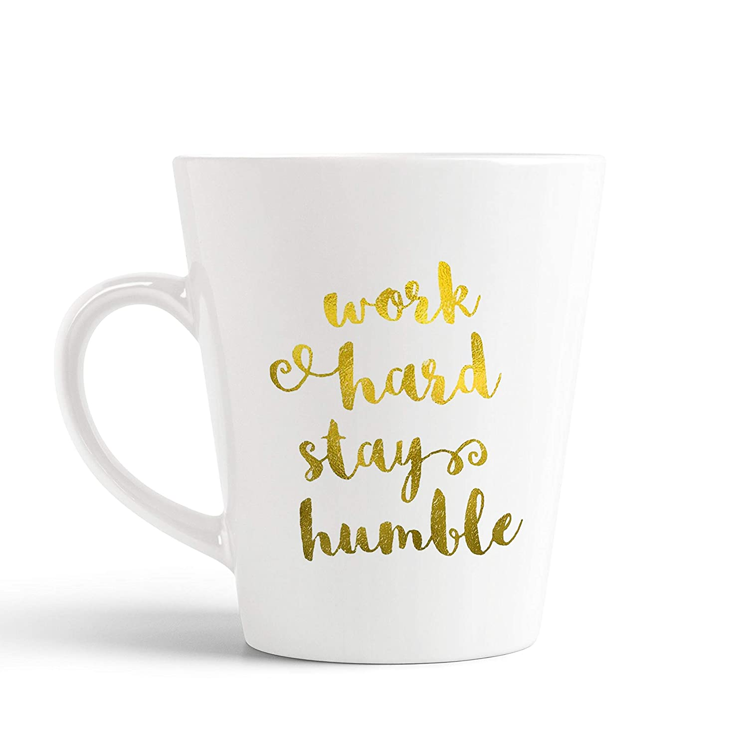 buy ikraft work hard stay humble golden quotes conical coffee mug