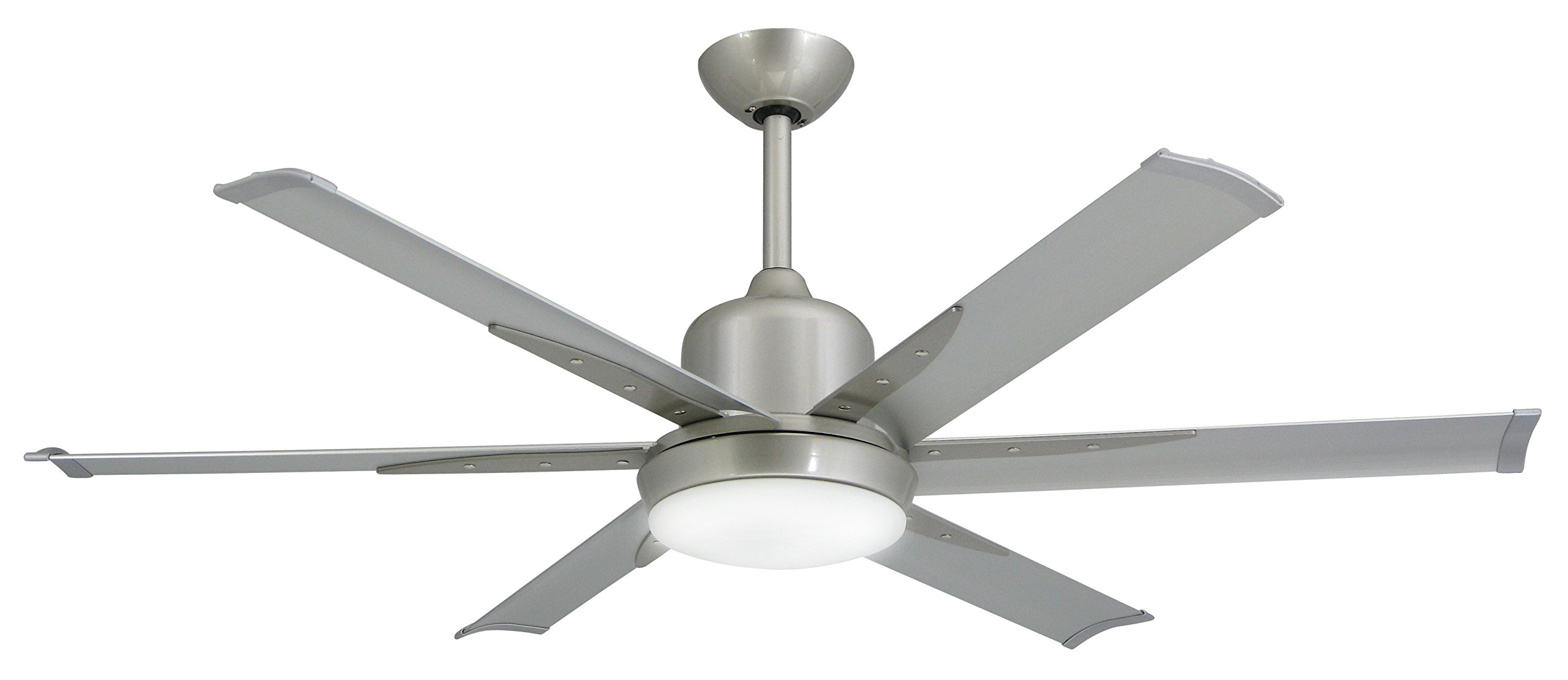 TroposAir DC-6 Brushed Nickel Industrial Ceiling Fan with 52'' Extruded Aluminum Blades, Integrated Light, DC-Motor and Remote