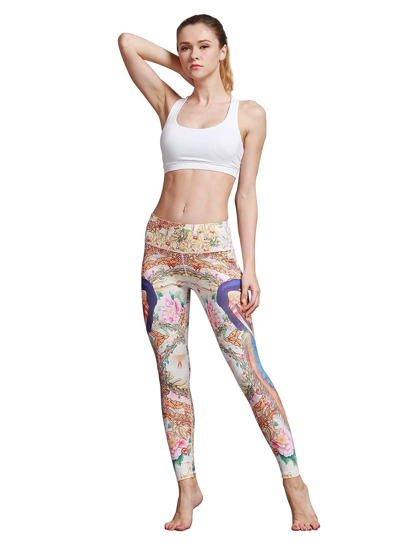 B Peacock & Flower FINEMORE Women Printed Yoga Pants Stretchy Pilates Workout Sport Yoga Leggings