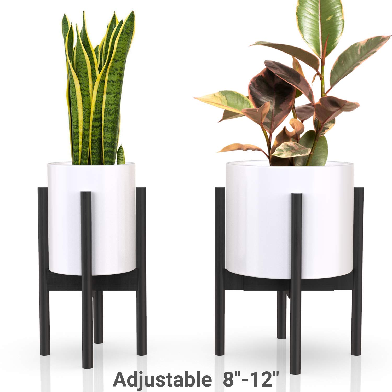 declutterd Plant Stand Adjustable Mid Century Indoor Plant Holder for House Plants, Home Decor - Wood - Fits Planter 8 to 12 Inches - Excludes Plant Pot (Black 1-Pack) by declutterd