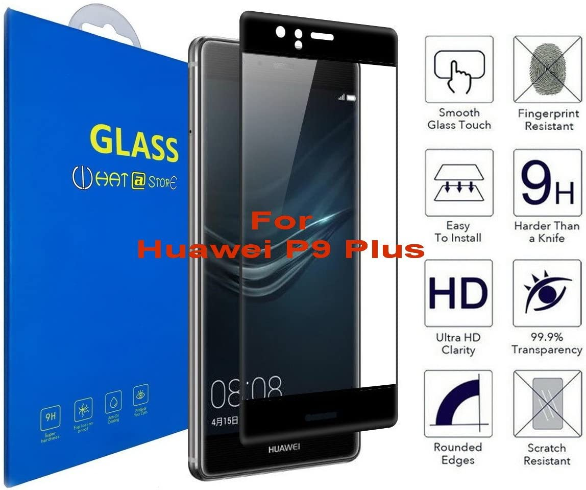 Huawei P9 Plus - Curvo 3D Cristal Templado Protector de Pantalla, 3D completo borde curvado [ borde a borde ] para Huawei P9 Plus (Negro) : Amazon.es: Electrónica
