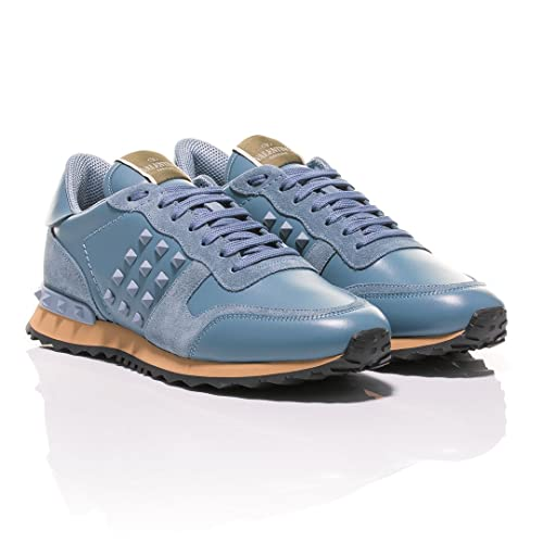 Valentino - Zapatillas de Cuero para Hombre Azul Celeste, Color, Talla 42 EU: Amazon.es: Zapatos y complementos