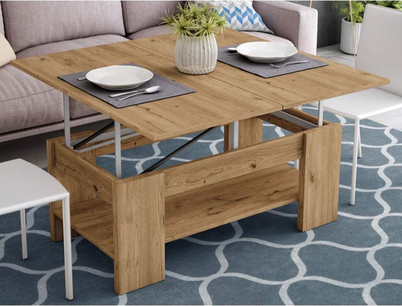 Muebles Baratos Mesa Centro Convertible en Comedor, Color Roble Europeo, ref-06: Amazon.es: Hogar