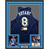 $6999 » Framed Autographed/Signed Kobe Bryant 33x42 Los Angeles LA Retro Blue Basketball Jersey PSA/DNA COA