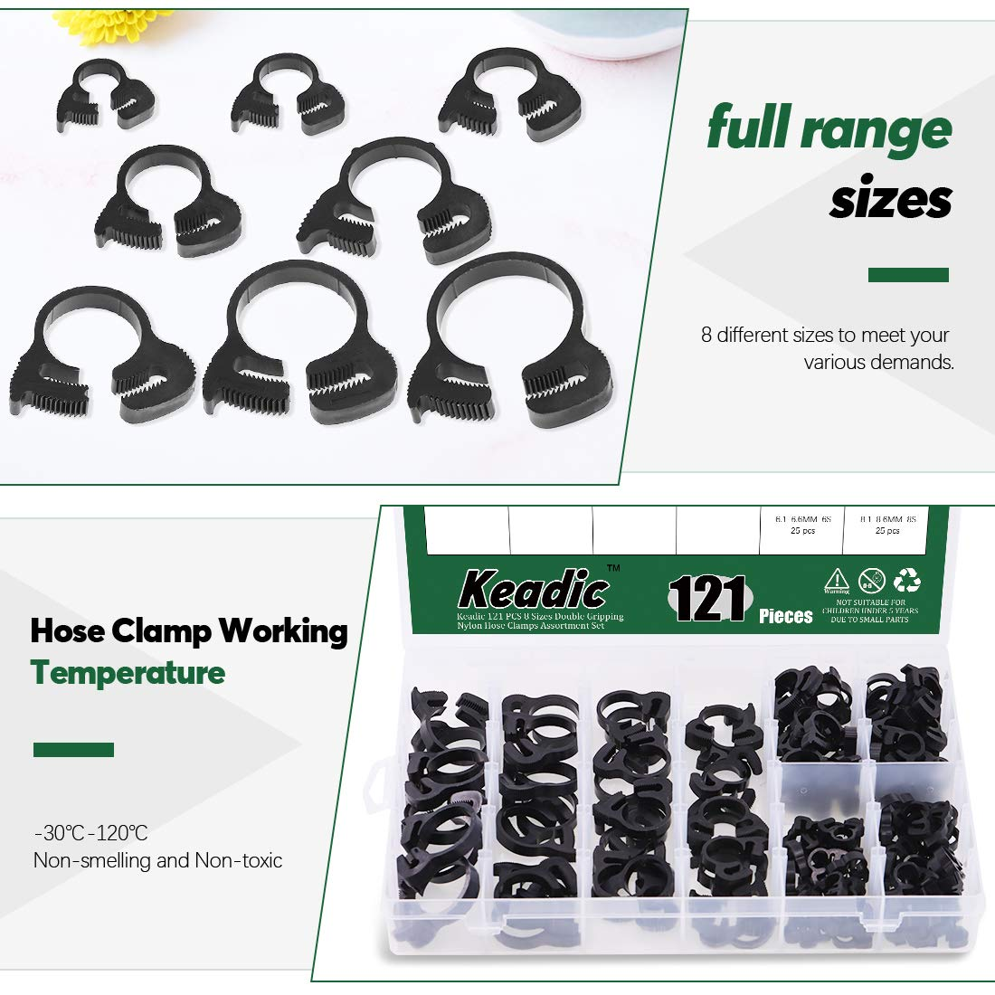 60-Pcs Heavy Duty Speedy Double Snap Grip Nylon Plastic Hose Clamps 8 Sizes Set Assortment