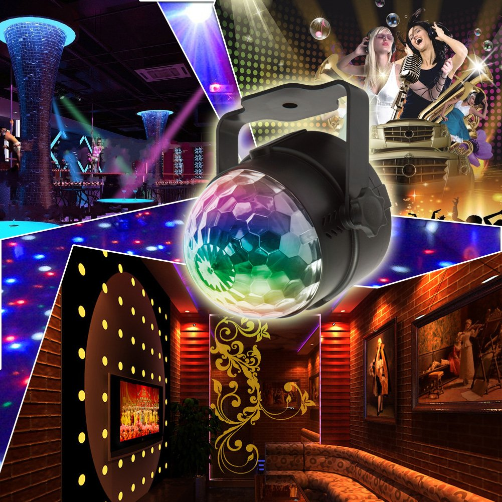 Disco Lights Ball,Sound Activated Party Lights Projector LED 7 Colors Disco Ball DJ Lights Strobe Lights Disco Party Lights Show for Dance Karaoke DJ Bar Wedding Show (with Remote) by KOOT (Image #7)