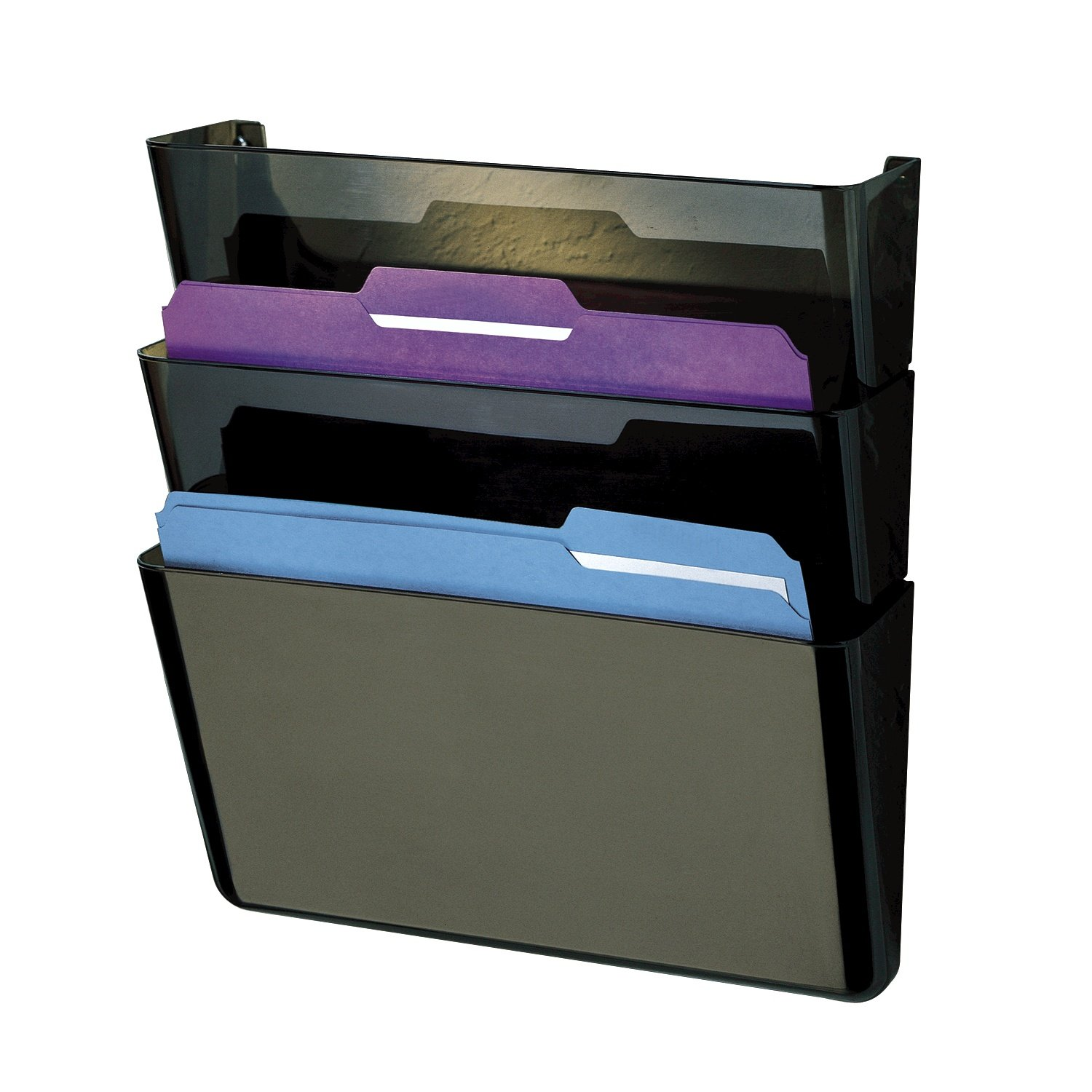 Rolodex Stak-A-File Three-Pocket Wall File, Letter, Smoke, 3/Pack (47021)