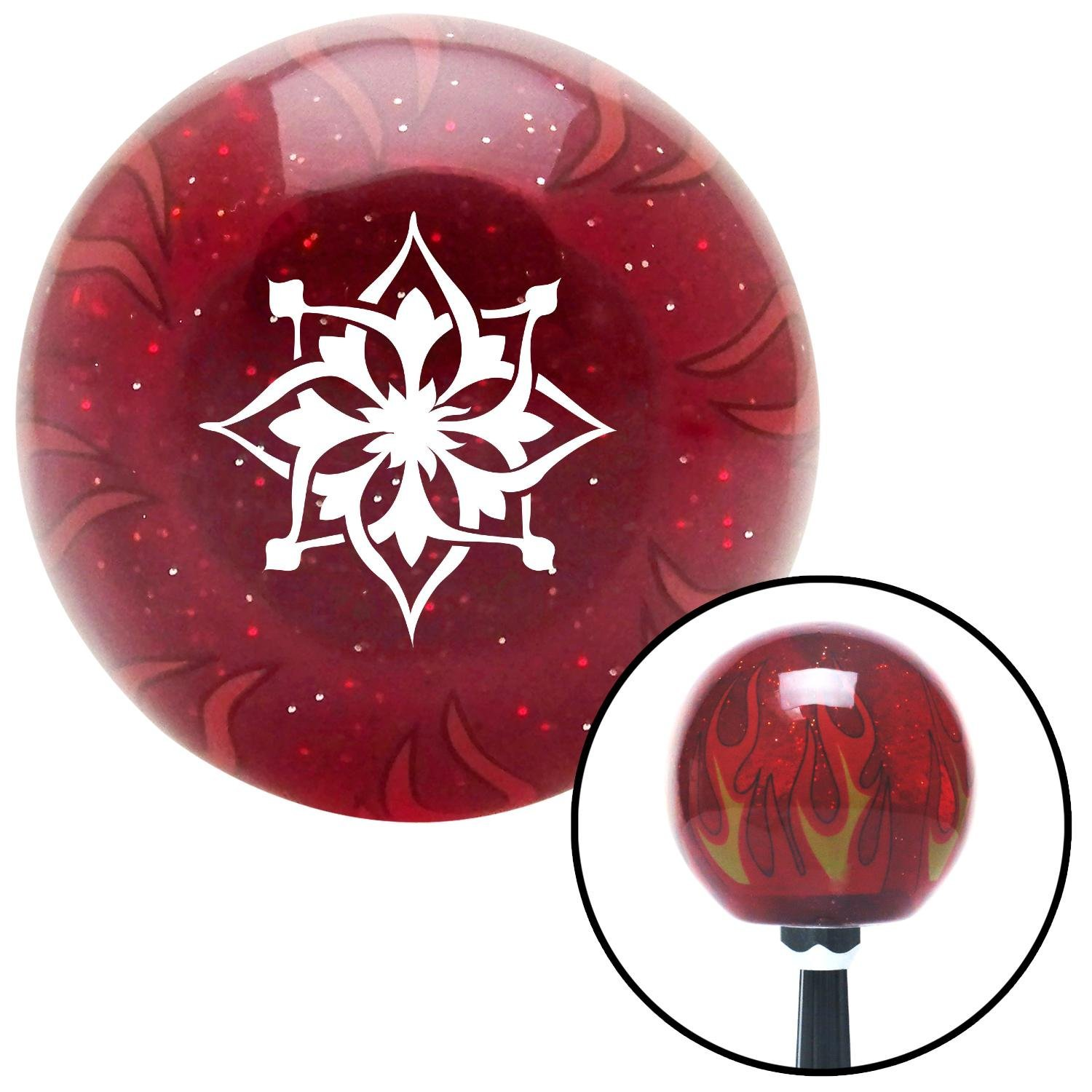 American Shifter 238125 Red Flame Metal Flake Shift Knob with M16 x 1.5 Insert White Abstract Flower