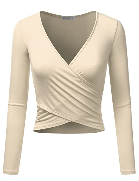 8fc2622dd5b JJ Perfection Women's Long Sleeve Deep V Neck Unique Cross Wrap Crop Top  Taupe S