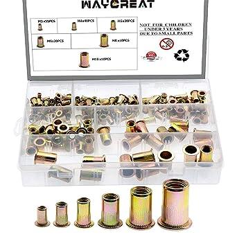 165Pcs Nut Rivets Threaded Insert Tool Kit Nutsert Riveter Hand Riveting M3-M10