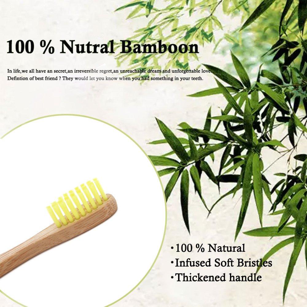 Bamboo Toothbrush for Kids Eco-Friendly biodegradable Bamboo Handles and BPA-Free Nylon Bristles For Natural Dental SoniFox 8Pcs Yellow Color by SoniFox (Image #2)