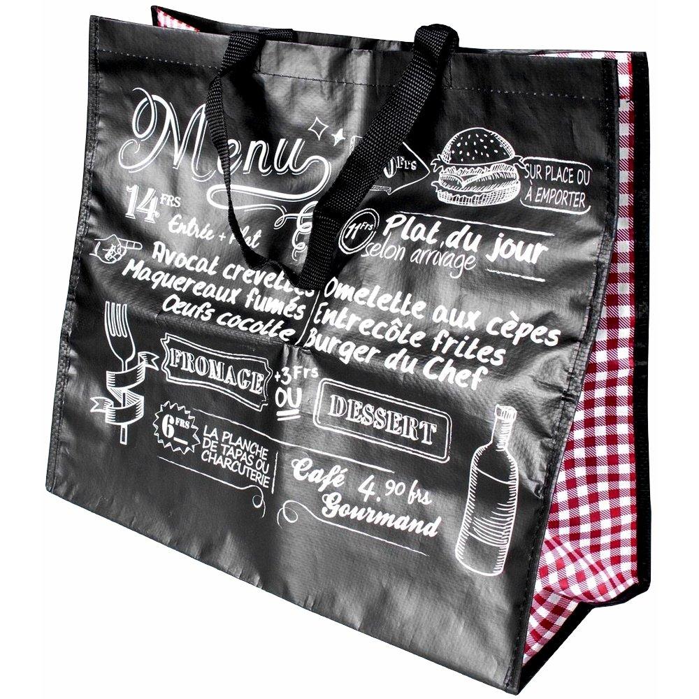 Promobo -Sac Cabas Shopping Courses Imprimé Vintage Décor Bistrot Noir cabasbistrotnoir