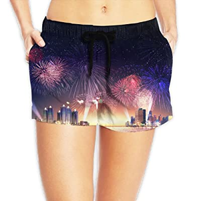 Women's Over The City Blooming Colorful Fireworks Quick Dry Board Beach Swim Trunks Shorts