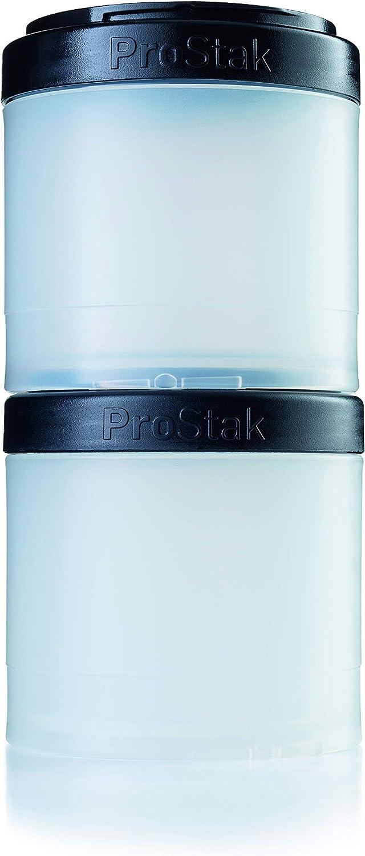 BlenderBottle ProStak Twist n' Lock Storage Jars Expansion 2-Pak with Pill Tray, White/Black