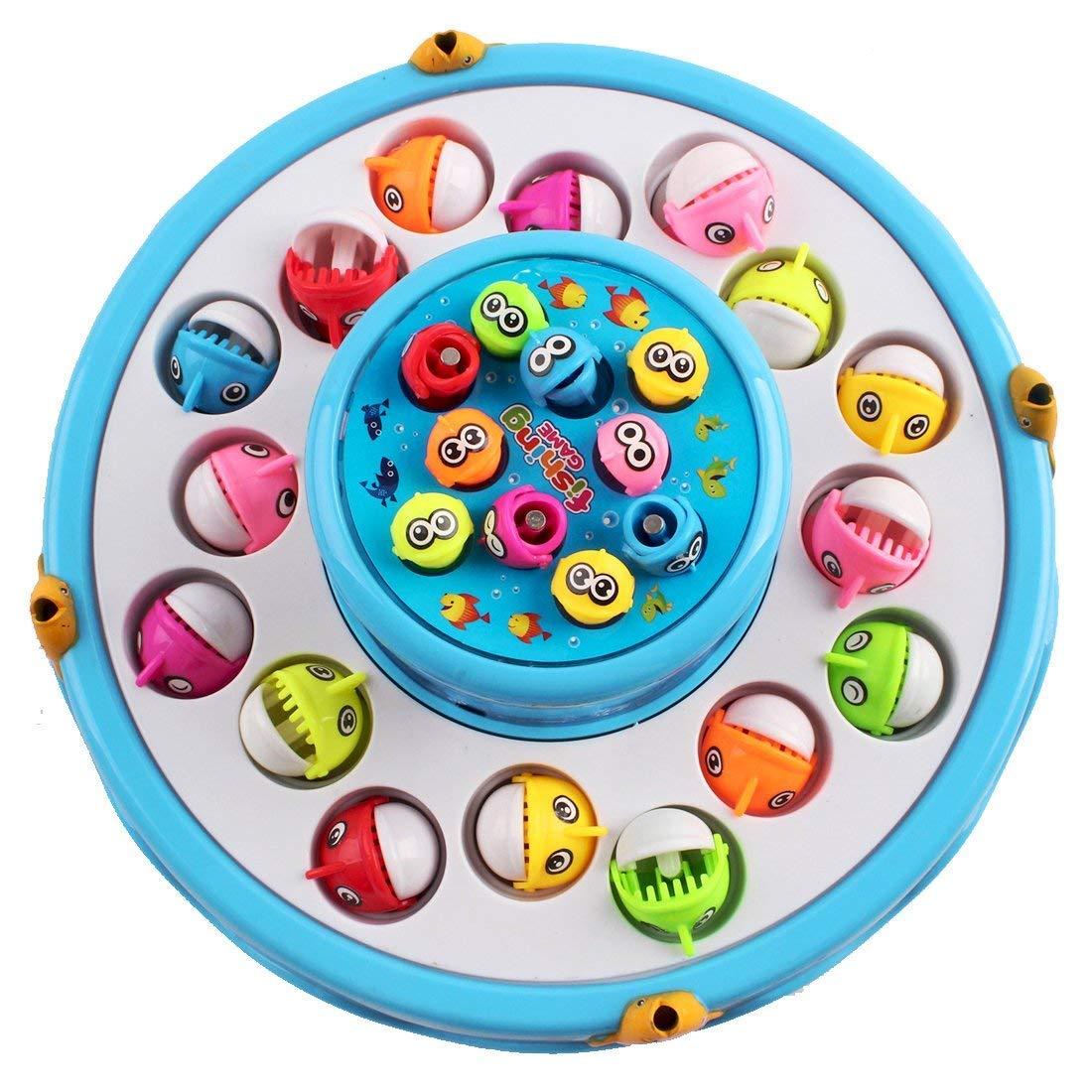 deAO Juego de Pesca Electrónico Rotatorio de Dos Niveles con Música y Luces - Incluye 4 Cañas y 26 Peces (Azul): Amazon.es: Juguetes y juegos