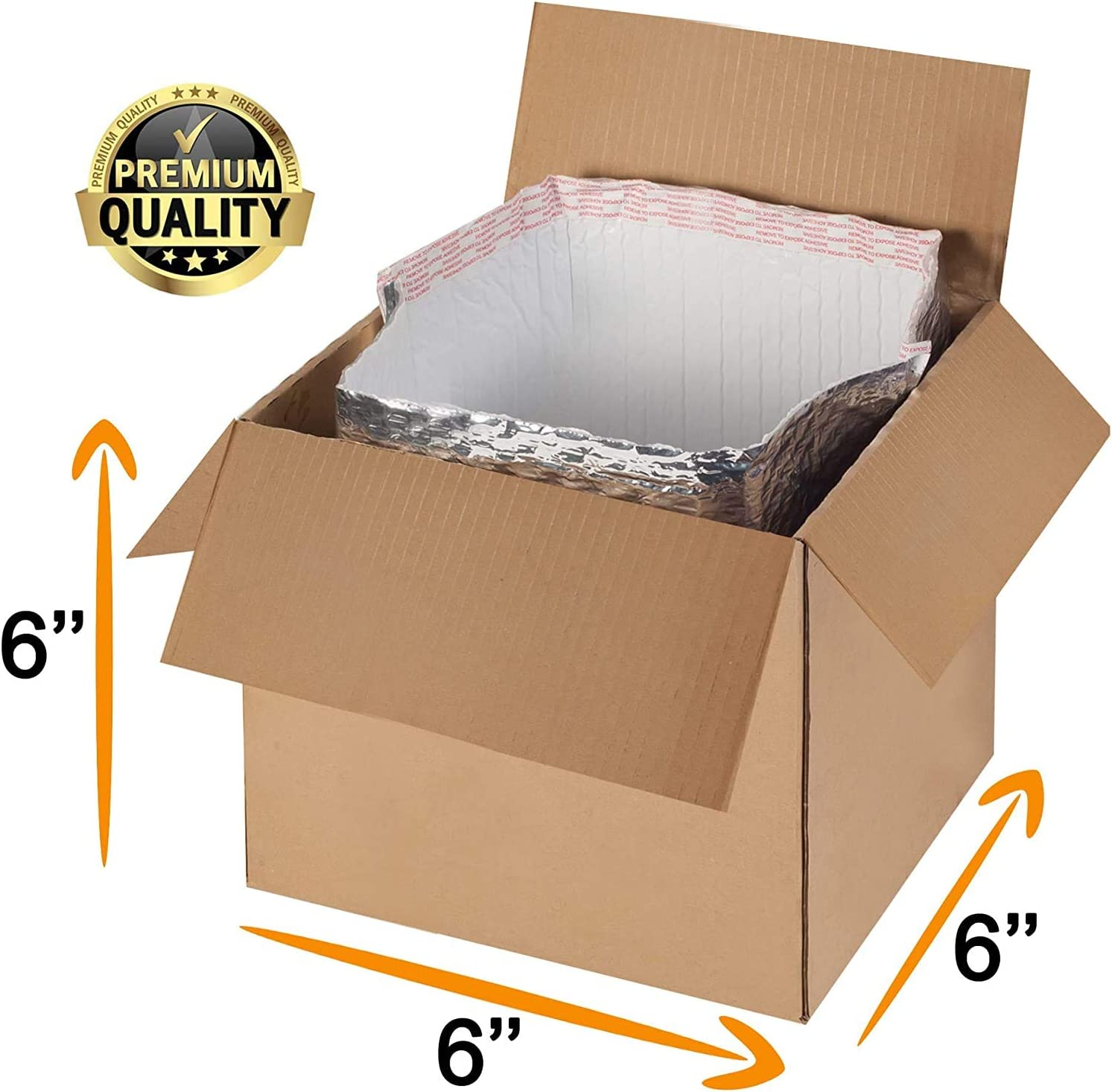 Pack of 5 Thermal Insulation Bags 6x6x6 Metalized Box Liners Leak Resistant Foil Insulated Liners for Lunch Box Temperature Sensitive Products Gusseted Bottom Liners Wholesale Price.