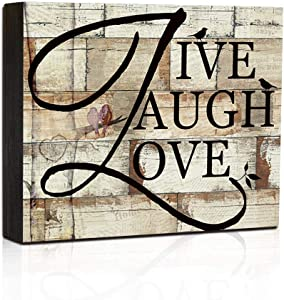 Wall Hanging Sign Home Decor Box Sign - Live Laugh Love - Small Quote Sign Wood Block Plaque Sign 7.5