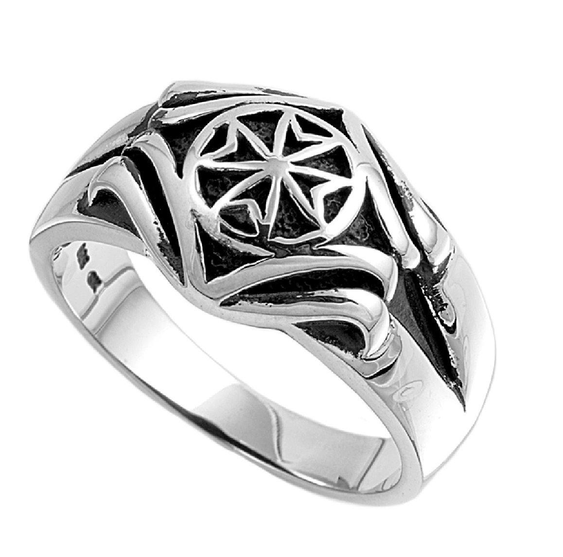 925 Sterling Silver Maltese Cross Ring Size 10