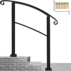 Handrails for Outdoor Steps,3 Step Handrail Fits 1 to 3 Steps Mattle Wrought Iron Handrail Stair Rail with Installation Kit Hand Rails for Outdoor Steps(Black)