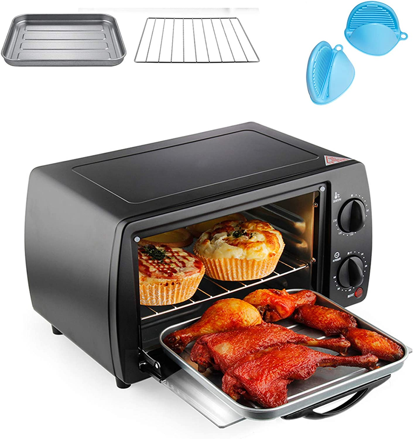 Tellgoy Air Fryer Toaster Oven, Toaster Oven Cooker, All in One Countertop Oven for Air Frying, Roasting, Defrosting Dehydrating,Black