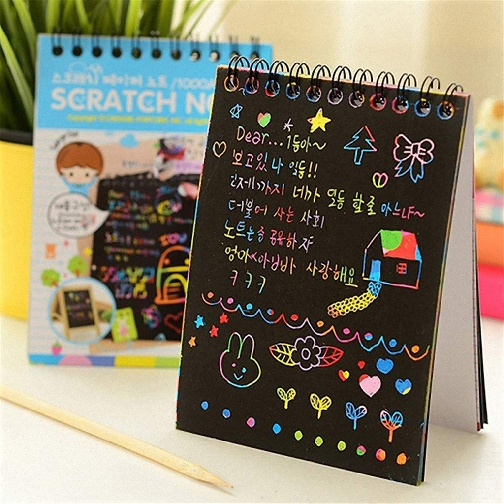 Magic Scratch Painting Book Rainbow Scratch Paper Art Painting Doodling Drawing Notebook for Kid Chidren Adult (Pink)