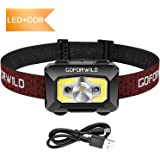 GOFORWILD Rechargeable Headlamp, COB Enhanced Headlamp, 500 Lumens Ultra Bright Cree LED Rechargeable Flashlight, Red Light and Motion Sensor, Waterproof, for Camping, Hiking, Outdoors