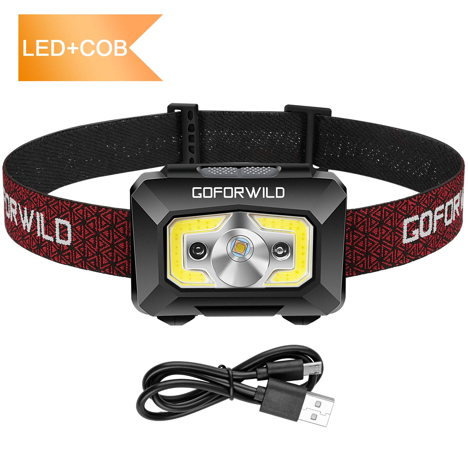 GOFORWILD Rechargeable Headlamp, COB Enhanced Headlamp, 500 Lumens Ultra Bright Cree LED Rechargeable Flashlight, Red Light and Motion Sensor, Waterproof, for Camping, Hiking, Outdoors by GOFORWILD