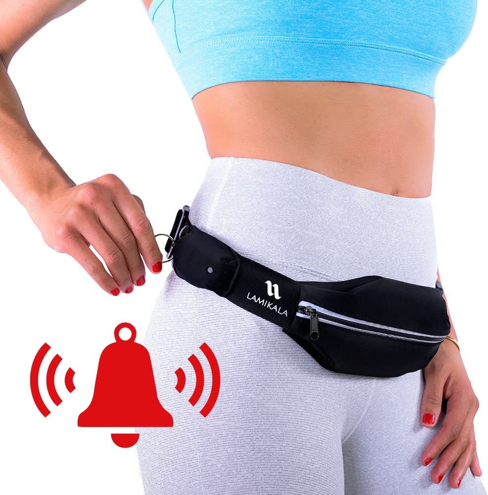 Lamikala Running Belt Fanny Pack with Personal Alarm, Slim Waist Pack Pouch for Runners Safety, Gym Phone/ iPhone Holder for Women and Men, Patented
