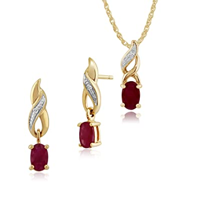 Gemondo 9ct Yellow Gold Ruby & Diamond Classic Drop Earrings & 45cm Necklace Set MPzxe