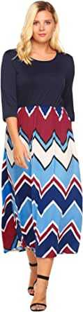 Involand Women's Plus Size Fashion 3/4 Sleeve Casual Contrast Color Striped Maxi Long Dress