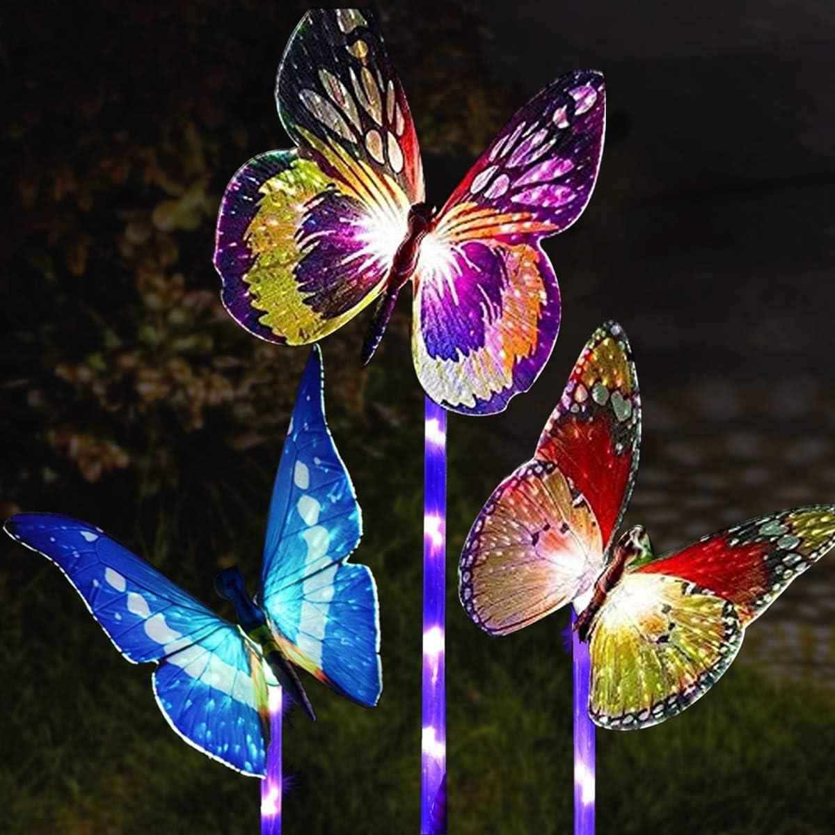 Garden Solar Lights Outdoor, Multi-Color Changing Solar Powered LED Garden Lights, Waterproof Light Sensor Solar Butterfly Lights, Outdoor Decor, Yard Art, Garden Decorations.(3-Pack)