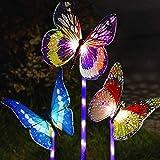 Garden Solar Lights Outdoor, Multi-Color Changing Solar Powered LED Garden Lights, Waterproof Light Sensor Solar Butterfly Li