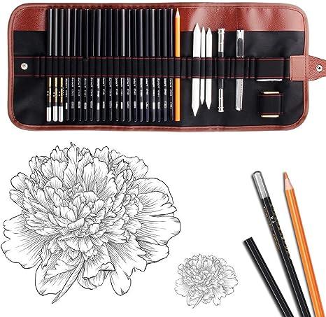 Eraser Jhua 29pcs Drawing Art Tool Kit with Graphite Pencils Paper Erasable Pens Kids Sketching Pencil Set Sharpener Pencil Extender Canvas Pencil Bag for Artists Sketchers Charcoal Pencils