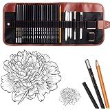 Dowswin 29 Pieces Pen Charcoal Drawing Set Sketching Pencil Set of Graphite Pencils Eraser Craft Knife Pencil Extender…